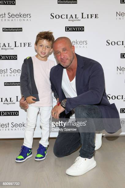 Mitch Kogen and his son attend the Social Life Magazine Nest Seekers August Issue Party on August 12 2017 in Southampton New York