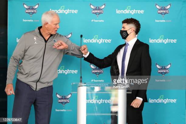 Mitch Kupchak of the Charlotte Hornets introduces LaMelo Ball during a presser press at Spectrum Center on November 20 in Charlotte North Carolina...