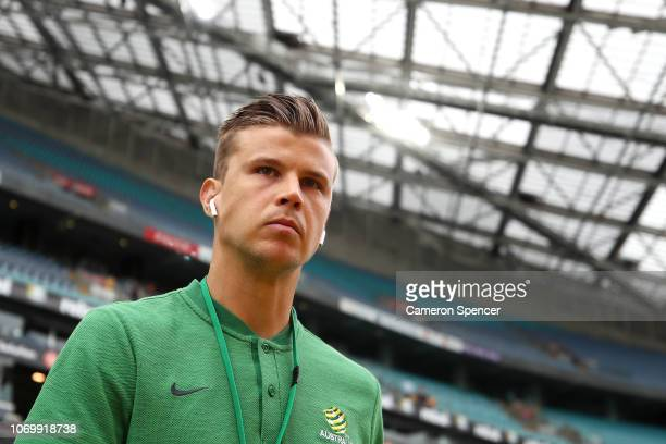 Mitch Langerak of Australia inspects the pitch prior to the International Friendly Match between the Australian Socceroos and Lebanon at ANZ Stadium...