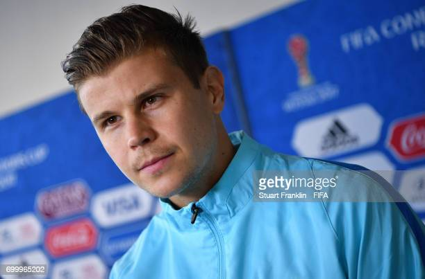 Mitch Langerak of Autralia talks with the media after the FIFA Confederation Cup Group B match between Cameroon and Australia at Saint Petersburg...