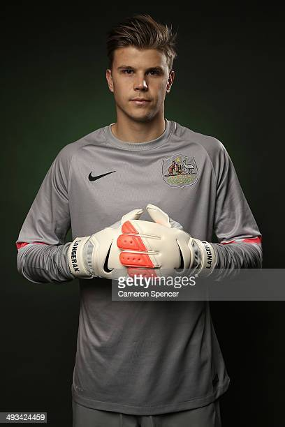 Mitch Langerak of the Socceroos poses during an Australian Socceroos portrait session at the Intercontinental on May 23 2014 in Sydney Australia