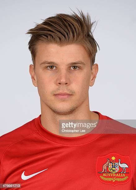 Mitch Langerak poses for camera during the Socceroos Photocall at the Hotel Verta on March 4 2014 in Battersea England