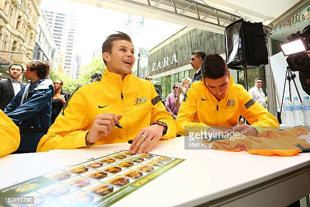 Mitch Langerak signs autographs for fans during an Australian Socceroos public appearance at Westfield Sydney on November 12, 2013 in Sydney,...