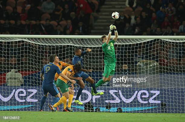 Mitch Langerak, the Australia keeper punches the ball clear during the International Friendly match between France and Australia at Parc des Princes...