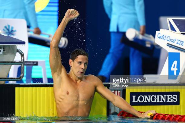 Mitch Larkin of Australia celebrates victory in the Men's 200m Backstroke Final on day five of the Gold Coast 2018 Commonwealth Games at Optus...