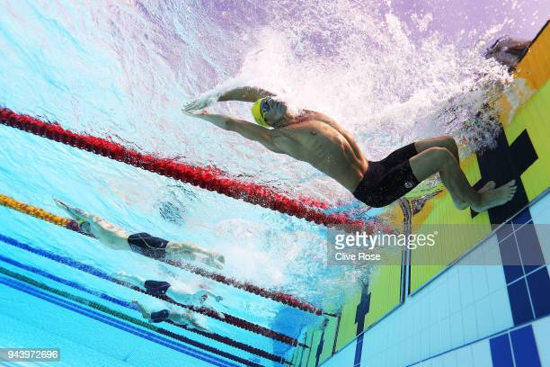 Mitch Larkin of Australia competes during the Men's 200m Individual Medley - Heat 3 on day six of the Gold Coast 2018 Commonwealth Games at Optus...