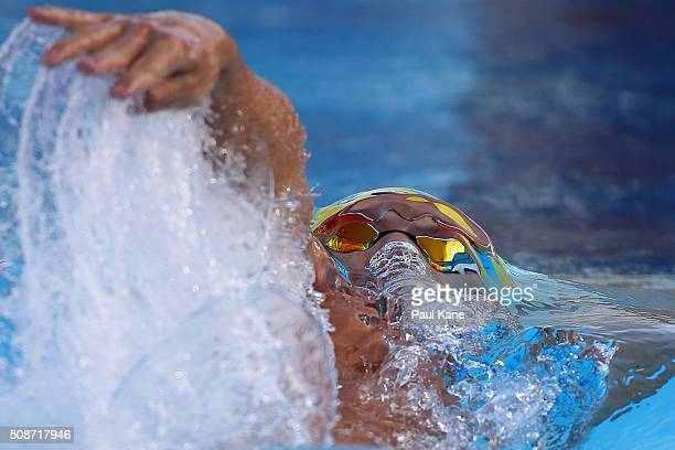 Mitch Larkin of Australia competes in the Men's 200 Metre Backstroke during the 2016 Aquatic Superseries at HBF Stadium on February 6 2016 in Perth...