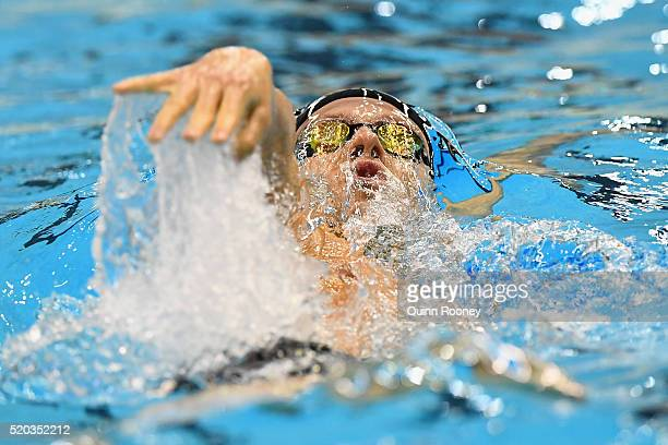 Mitch Larkin of Australia competes in the Men's 200 Metre Backstroke during day four of the Australian Swimming Championships at the South Australian...