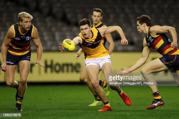 Mitch Lewis of the Hawks in action during the round 20 AFL match between Adelaide Crows and Hawthorn Hawks at Marvel Stadium on July 24, 2021 in...