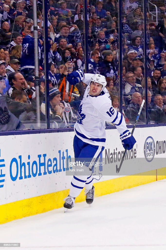 Mitch Marner #16 of the Toronto Maple Leafs celebrates after scoring a goal during the third period of the game against the Columbus Blue Jackets on December 20, 2017 at Nationwide Arena in Columbus, Ohio. Columbus defeated Toronto 4-2.