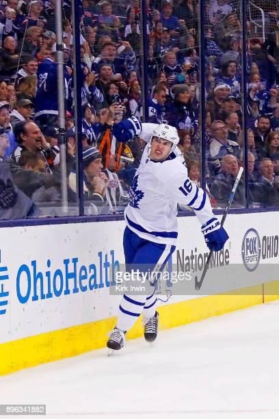 Mitch Marner of the Toronto Maple Leafs celebrates after scoring a goal during the third period of the game against the Columbus Blue Jackets on...