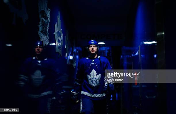 Mitch Marner of the Toronto Maple Leafs heads back to the dressing after warming up to face the Ottawa Senators at the Air Canada Centre on January...