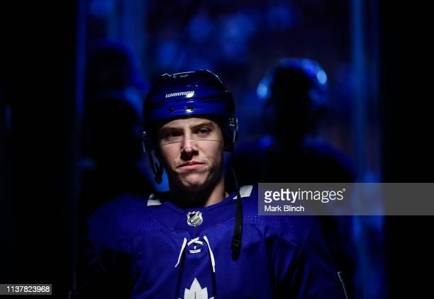 Mitch Marner of the Toronto Maple Leafs heads to the locker room before facing the Boston Bruins during Game Four of the Eastern Conference First...