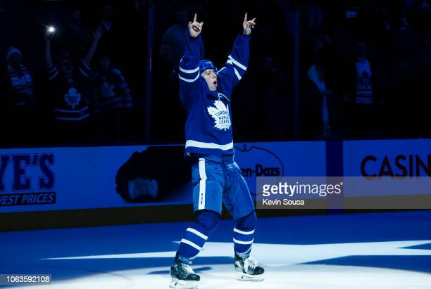 Mitch Marner of the Toronto Maple Leafs salutes the crowd after receiving a star of the game after defeating the Columbus Blue Jackets at the...