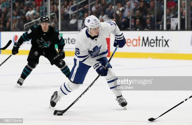 Mitch Marner of the Toronto Maple Leafs scores a goal in the third period against the San Jose Sharks at SAP Center on November 15 2018 in San Jose...