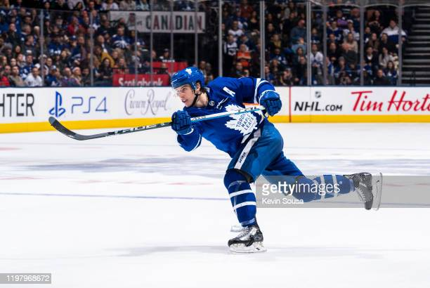 Mitch Marner of the Toronto Maple Leafs shoots against the Ottawa Senators during the second period at the Scotiabank Arena on February 1, 2020 in...