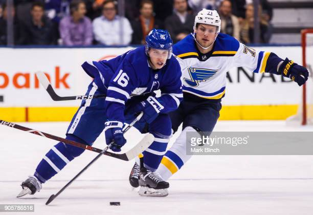 Mitch Marner of the Toronto Maple Leafs skates against Vladimir Sobotka of the St Louis Blues during the first period at the Air Canada Centre on...