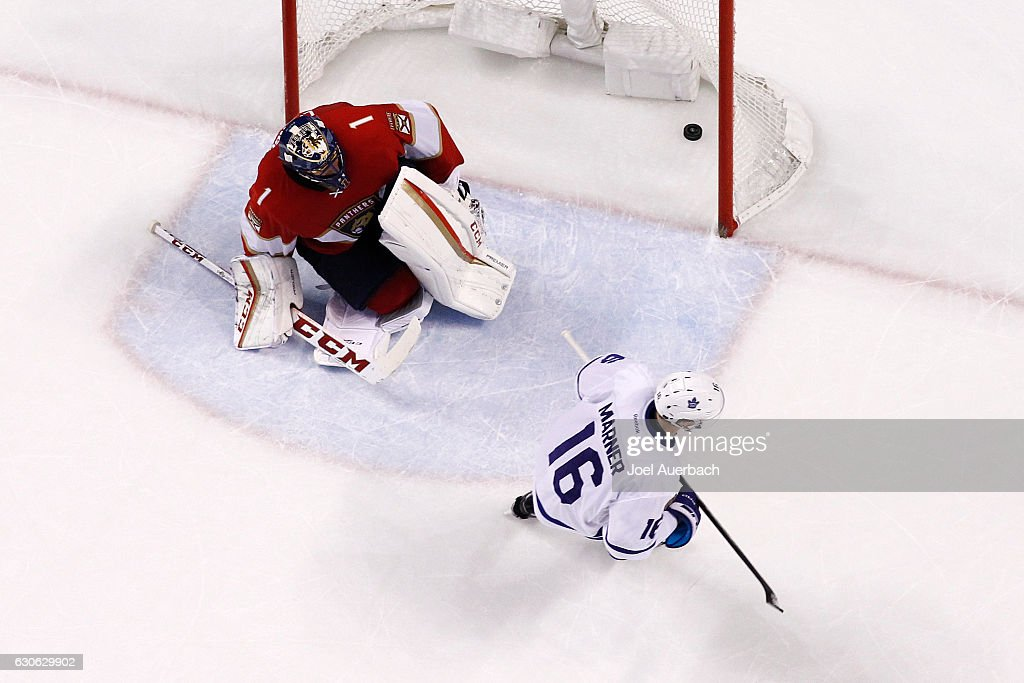 Mitch Marner #16 of the Toronto Maple Leafs skates past Goaltender Roberto Luongo #1 of the Florida Panthers after scoring the game winning goal in the shoot out at the BB&T Center on December 28, 2016 in Sunrise, Florida. The Maple Leafs defeated the Panthers 3-2 in a shoot out.