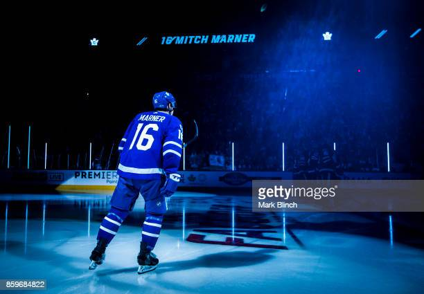 Mitch Marner of the Toronto Maple Leafs takes the ice during player introductions during opening night before play against the New York Rangers...