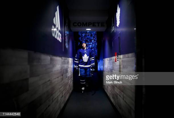 Mitch Marner of the Toronto Maple Leafs walks in the hallway to the dressing room before playing the Boston Bruins in Game Six of the Eastern...