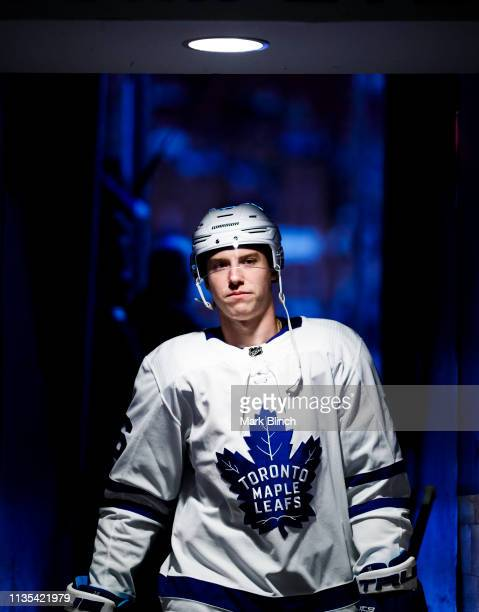 Mitch Marner of the Toronto Maple Leafs walks to the dressing room before playing the Tampa Bay Lightning at the Scotiabank Arena on March 11 2019 in...