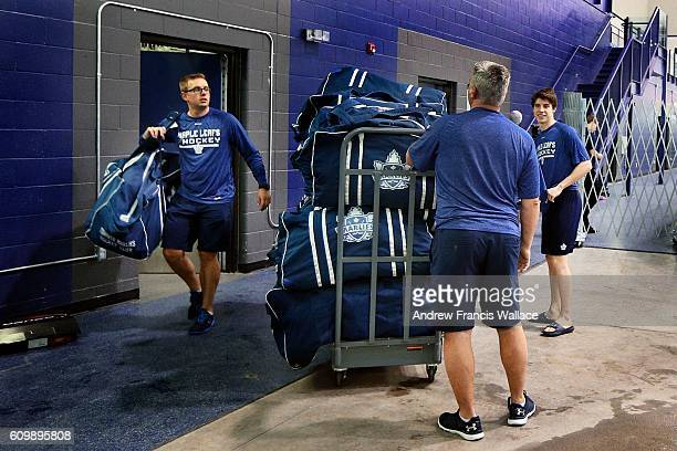 TORONTO ON SEPTEMBER 22 Mitch Marner stops to speak with Toronto Maple Leafs' staff at the MasterCard Centre September 22 2016