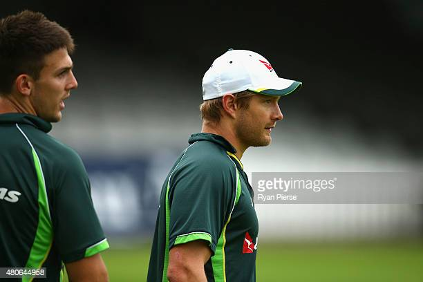 Mitch Marsh and Shane Watson of Australia train during a nets session ahead of the 2nd Investec Ashes Test match between England and Australia at...