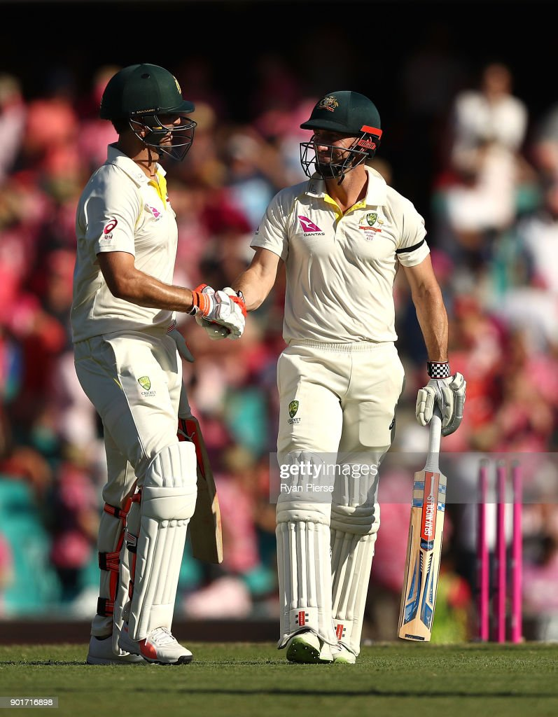 Mitch Marsh and Shaun Marsh of Australia walk from the ground at stumps during day three of the Fifth Test match in the 2017/18 Ashes Series between Australia and England at Sydney Cricket Ground on January 6, 2018 in Sydney, Australia.