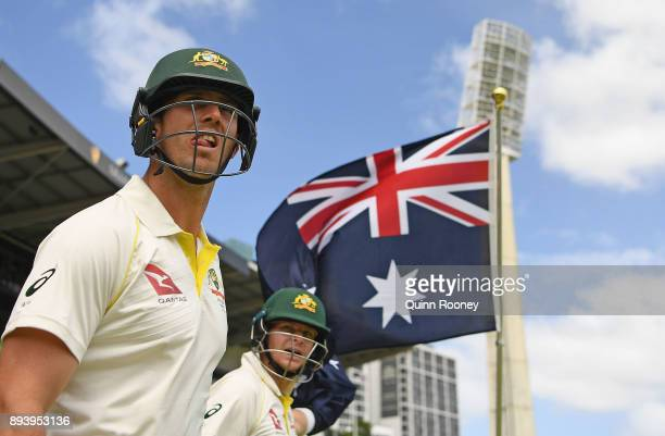 Mitch Marsh and Steve Smith of Australia wait to walk off the field during day four of the Third Test match during the 2017/18 Ashes Series between...