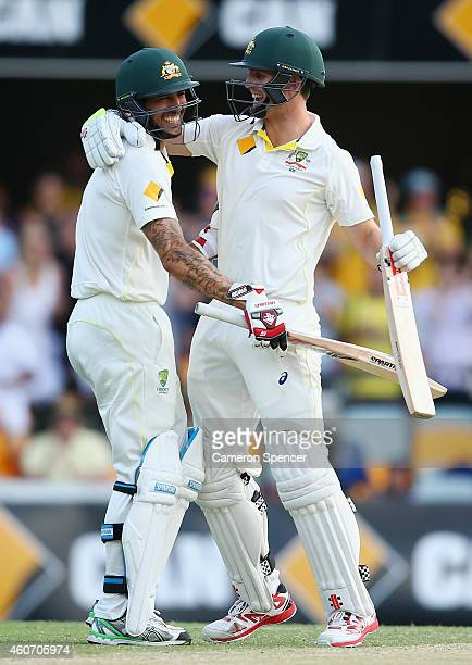 Mitch Marsh of Australia and Mitchell Johnson of Australia embrace as Marsh hits the winning runs to win the test during day four of the 2nd Test...