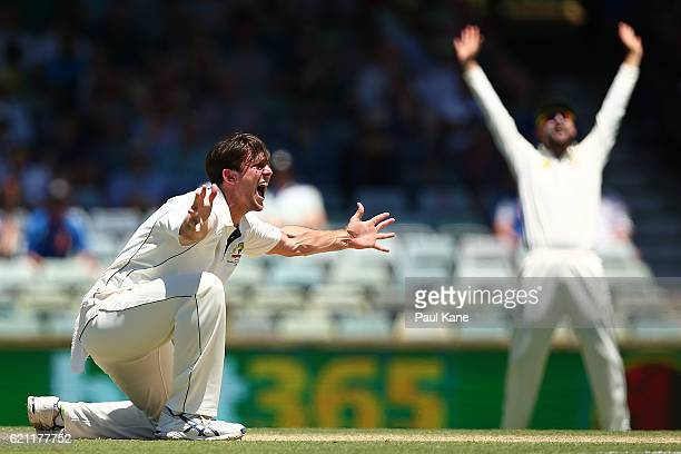 Mitch Marsh of Australia appeals unsuccessfully to Umpire Nigel Llong for an lbw decision on Dean Elgar of South Africa during day three of the First...