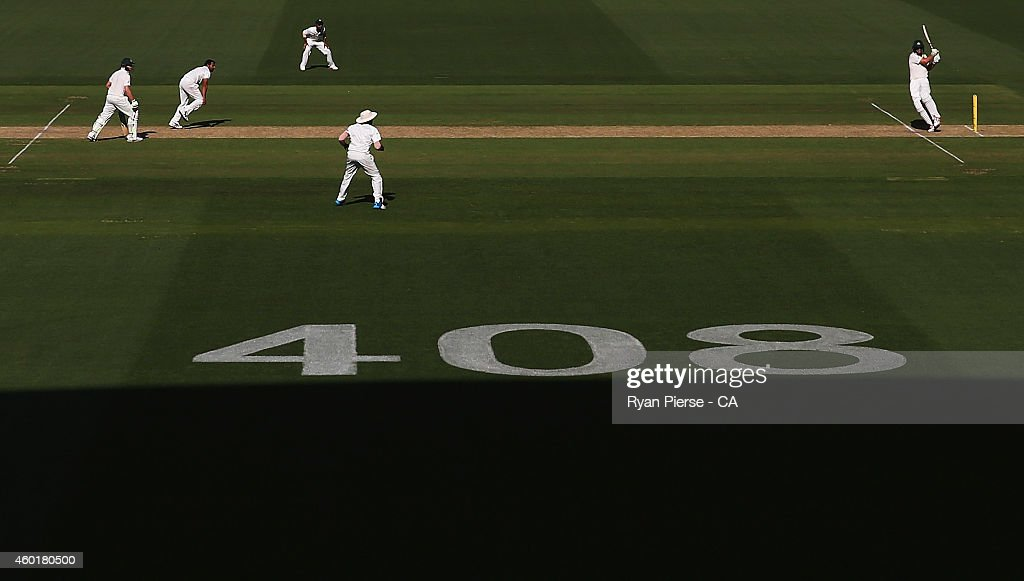 Mitch Marsh of Australia bats during day one of the First Test match between Australia and India at Adelaide Oval on December 9, 2014 in Adelaide, Australia.