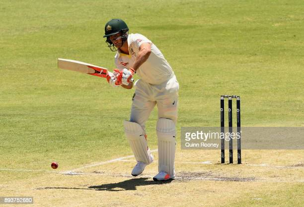 Mitch Marsh of Australia bats during day three of the Third Test match during the 2017/18 Ashes Series between Australia and England at WACA on...
