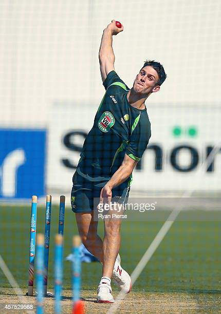 Mitch Marsh of Australia bowls during an Australian Nets Session at Dubai International Stadium on October 20, 2014 in Dubai, United Arab Emirates.