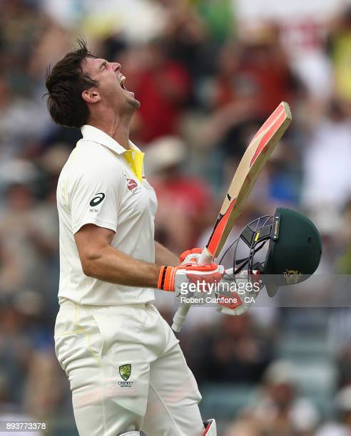 Mitch Marsh of Australia celebrates after he scored his century during day three of the Third Test match during the 2017/18 Ashes Series between...