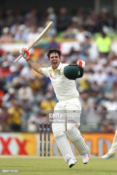 Mitch Marsh of Australia celebrates after reaching his century during day three of the Third Test match during the 2017/18 Ashes Series between...
