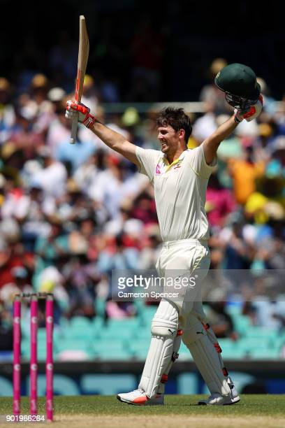 Mitch Marsh of Australia celebrates after reaching his century during day four of the Fifth Test match in the 2017/18 Ashes Series between Australia...