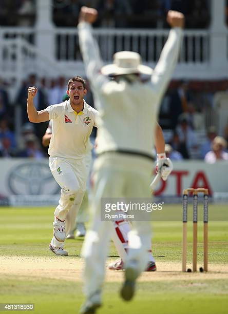 Mitch Marsh of Australia celebrates after taking the wicket of Gary Ballance of England during day four of the 2nd Investec Ashes Test match between...