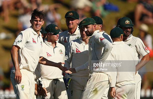 Mitch Marsh of Australia celebrates after taking the wicket of Brendon McCullum of New Zealand during day three of the Test match between New Zealand...