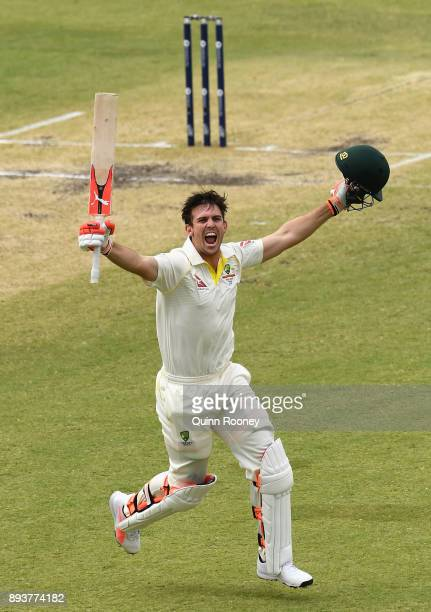 Mitch Marsh of Australia celebrates making a century during day three of the Third Test match during the 2017/18 Ashes Series between Australia and...