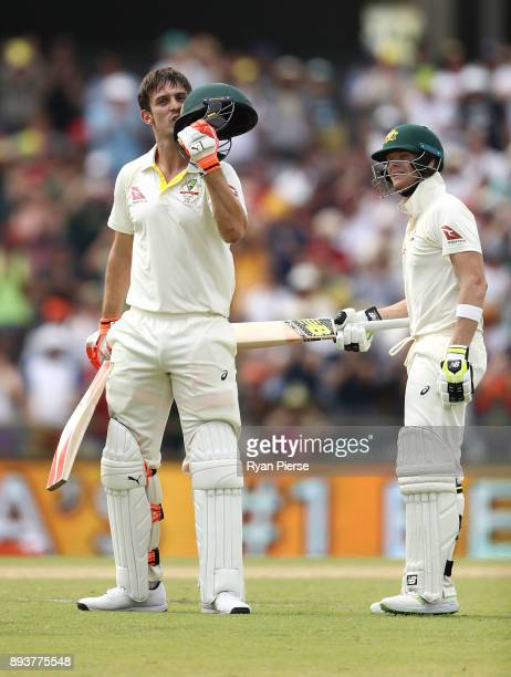 Mitch Marsh of Australia celebrates with Steve Smith of Australia after reaching his century during day three of the Third Test match during the...