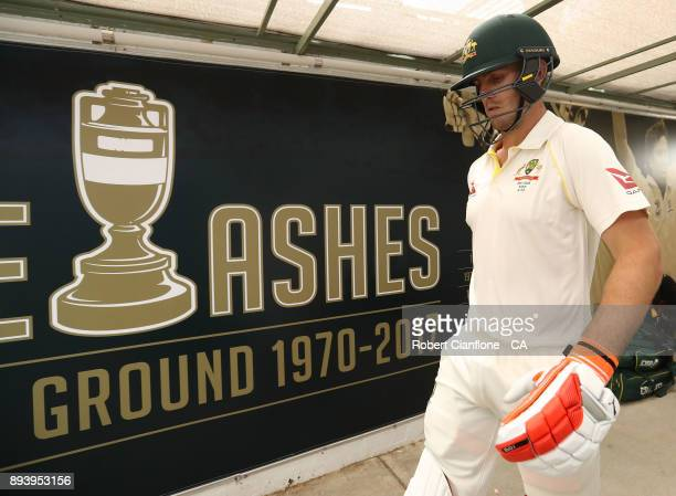 Mitch Marsh of Australia heads out to bat during day four of the Third Test match during the 2017/18 Ashes Series between Australia and England at...