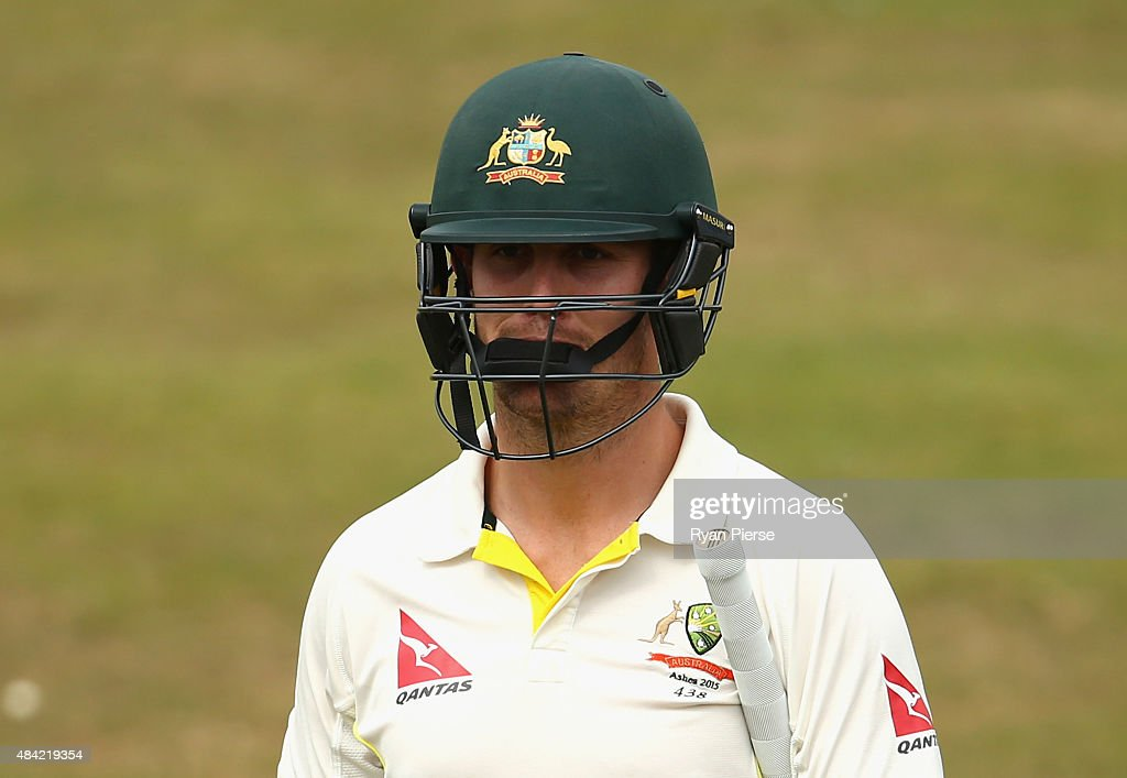 Mitch Marsh of Australia looks dejected after being dismissed by Richard Gleeson of Northamptonshire during day three of the tour match between Northamptonshire and Australia at The County Ground on August 16, 2015 in Northampton, England.