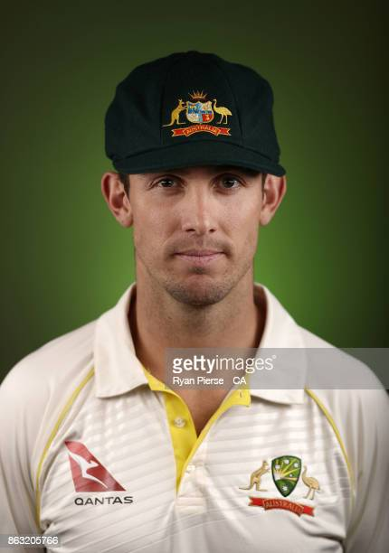 Mitch Marsh of Australia poses during the Australia Test cricket team portrait session at Intercontinental Double Bay on October 15 2017 in Sydney...