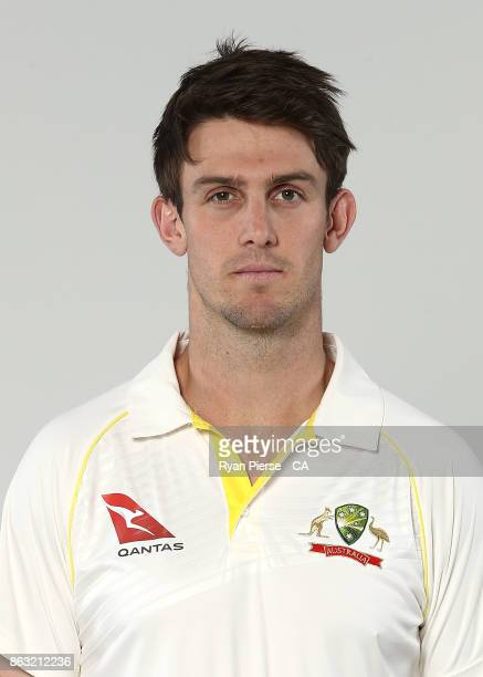 Mitch Marsh of Australia poses during the Australia Test Team Headshots Session at Intercontinental Double Bay on October 15 2017 in Sydney Australia