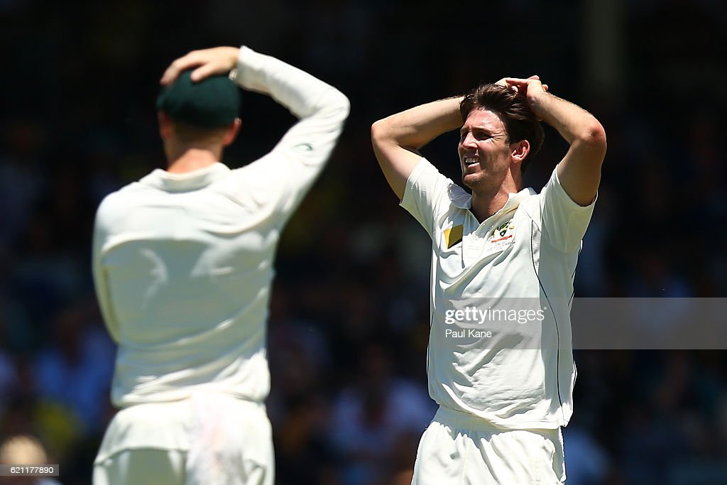 Mitch Marsh of Australia reacts after Dean Elgar of South Africa edged a ball between the keeper and slips to the boundary during day three of the First Test match between Australia and South Africa at the WACA on November 5, 2016 in Perth, Australia.