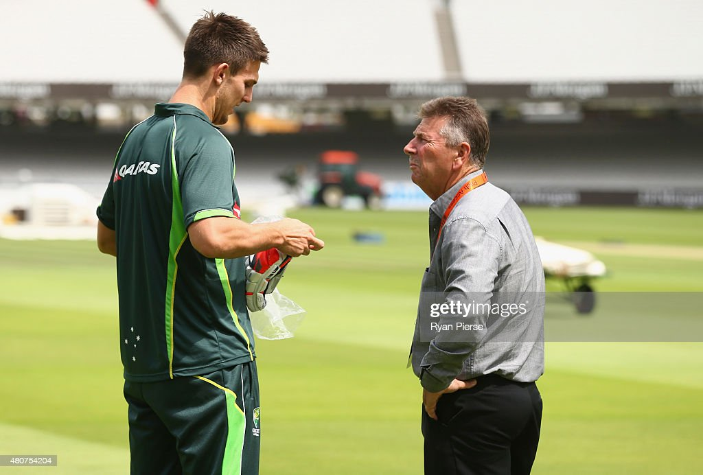 Mitch Marsh of Australia speaks to Australian Chairman of Selectors Rod Marsh during a nets session ahead of the 2nd Investec Ashes Test match between England and Australia at Lord's Cricket Ground on July 15, 2015 in London, United Kingdom.
