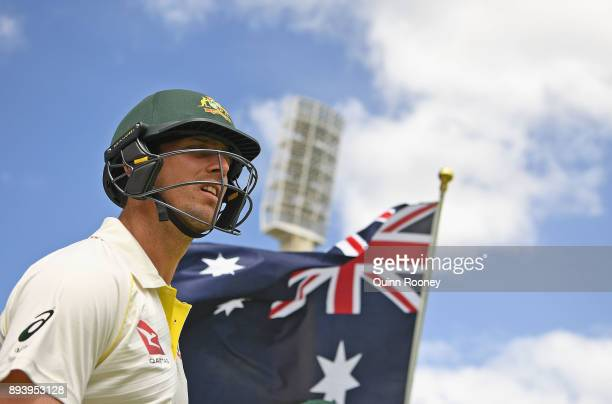 Mitch Marsh of Australia waits to walk off the field during day four of the Third Test match during the 2017/18 Ashes Series between Australia and...