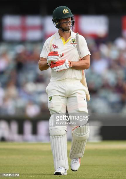Mitch Marsh of Australia walks off the field after being dismissed by James Anderson of England during day four of the Third Test match during the...