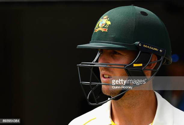Mitch Marsh of Australia walks out onto the field during day four of the Third Test match during the 2017/18 Ashes Series between Australia and...